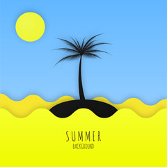 Summer minimalistic background with sea, sun and palm.