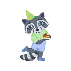 Boy Raccoon With Birthday Cake