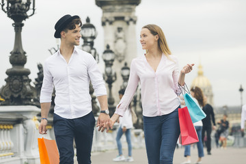 Young couple dating in Paris