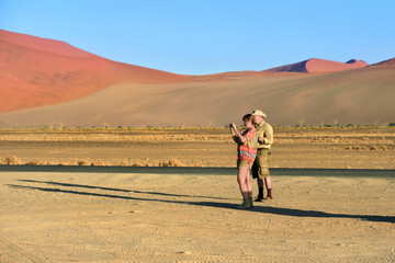 Tourists in the Namib-Naukluft National Park, Namibia, Africa