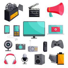 Multimedia icons set, cartoon style