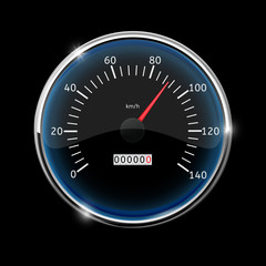 Speedometer. Round speed gauge with 90 km speed indication. On black background