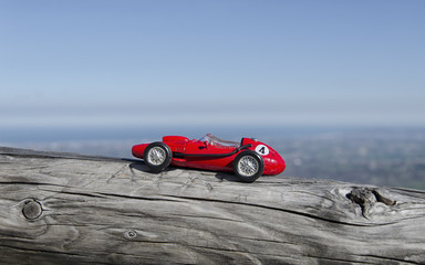 Model of old car and breathtaking panorama