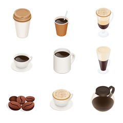 Coffee types. Vector coffee cup icons. Graphic concept for web sites, web banner, mobile apps, infographics. Flat 3d vector isometric illustration.