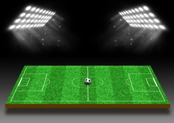 Football field with a lawn under lights
