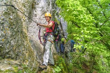 Freizeitsportler im Klettersteig