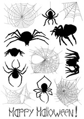 Set with silhouettes of spiders and cobweb on white
