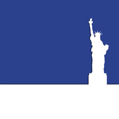Statue of Liberty on a blue background with shadow