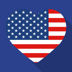 Heart on a blue background with the flag of America