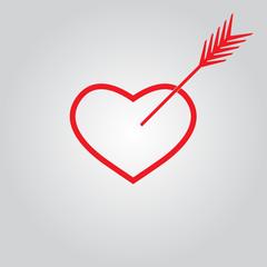 Heart with arrow. Vector icon.