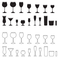Glass icon set. Stemware for a different drinks. Glasses goblets, cocktail glasses collection. Vector illustration.