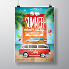 Vector Summer Beach Party Flyer Design with travel van and surf board on ocean landscape background.