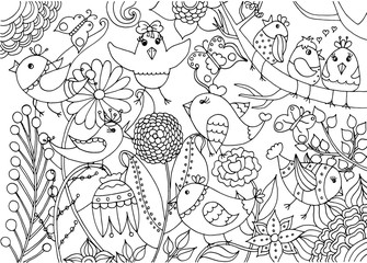 Birds and flowers coloring page