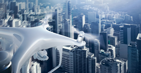 Closeup Photo White Matte Generic Design Remote Control Air Drone with action camera Flying Sky under City. Modern Megapolis Background. Wide, front side view. Motion Blur Effect. 3D rendering.