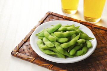 Fotobehang - ビールと枝豆 Beer and Green soybeans