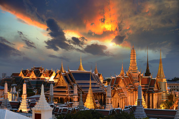Landmark Grand palace and Temple of the Emerald Buddha in Bangkok, Thailand.