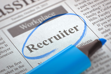Recruiter. Newspaper with the Small Advertising, Circled with a Blue Highlighter. Newspaper with Vacancy Recruiter. Blurred Image. Selective focus. Job Seeking Concept. 3D.