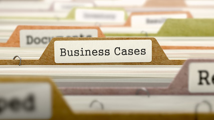 Business Cases - Folder Register Name in Directory. Colored, Blurred Image. Closeup View. 3D Render.