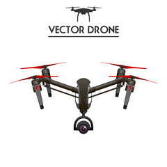 Drone, Quadrocopter UAV concept art, isolated on white