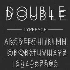 Font / typeface latin / abc and numbers / modern font for your design, vintage looking font