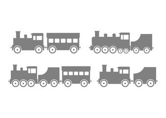 Grey train icons on white background