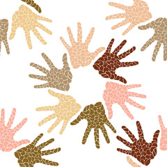 Seamless pattern of skin color hands in a circle painted in drops style