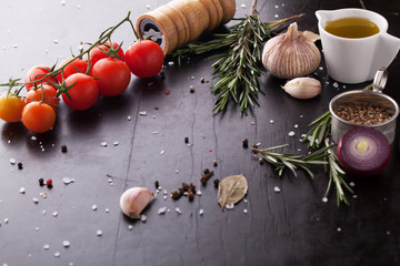 Spices, tomatoes, herbs and condiments