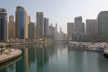 sight of district Marina in Dubai at morning