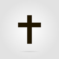 Cross christian symbol with shadow on grey colored