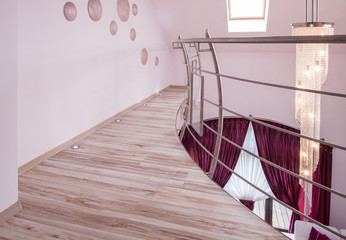 Floor with silver railing