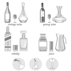 vector illustration. decanters-their types,purpose and way of caring for them.