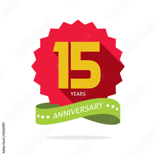 Years 15 Anniversary Vector Label Logo Shadow On Circle Number 15