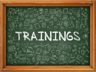 Trainings Concept. Modern Line Style Illustration. Trainings Handwritten on Green Chalkboard with Doodle Icons Around. Doodle Design Style of  Trainings Concept.