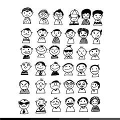 People face cartoon  icon Illustration design