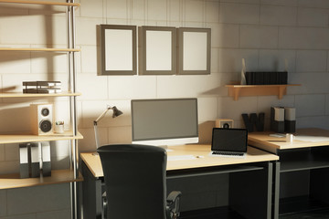 Creative designer workplace side