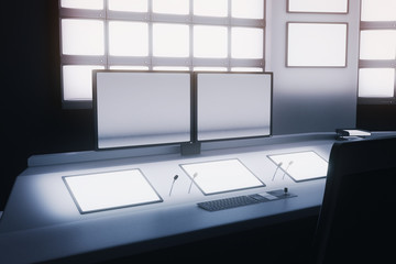 Blank monitors in security room