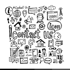Hand Draw Contact Us Icon Illustration design