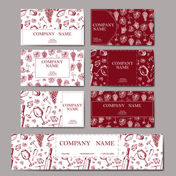 Set of business cards. Wine company. Restaurant red theme. Vector winery illustration.