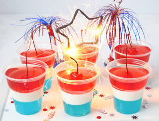Striped jelly shots with firecracker star