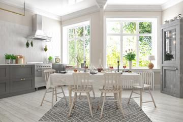 Skandinavische, nordische Küche - Wohnung