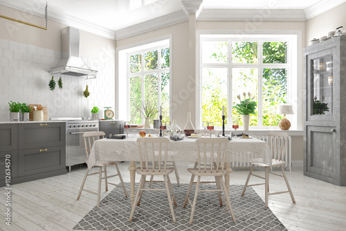 skandinavische nordische k che wohnung immagini e fotografie royalty free su. Black Bedroom Furniture Sets. Home Design Ideas