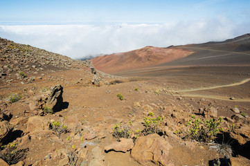 View of the Haleakala crater with the sliding sands trail