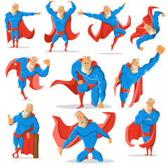 Old charismatic hipster Superhero in different poses. Superhero in action. Vector illustration.