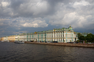 Hermitage Museum. View of the Winter Palace from the Palace Bridge in St Petersburg.