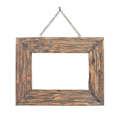 old wooden frame with chain hanging on white