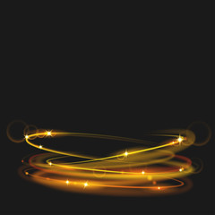 Glowing fire rings with glitter in gold colors. Light effects