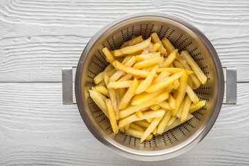 Fried potatoes in a metal pan on the table