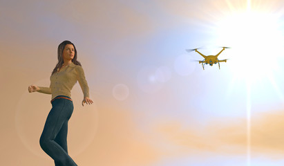 3D illustration of a young woman with a UAV drone looking on. Fictitious UAV. Depicting erosion of privacy through technology; lens flare, depth-of-field, motion blur.