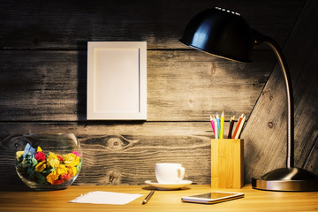 Creative desk with picture frame