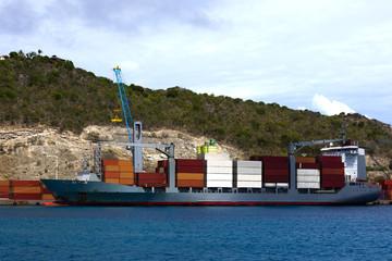 unloading cargo ship
